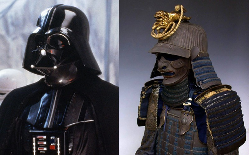 Immagine comparativa tra armatura utilizzata nel film StarWars e armatura storica giapponese